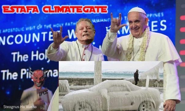 Resultado de imagen de contraperiodismomatrix.com  calentamiento global Papa franciso cornuto
